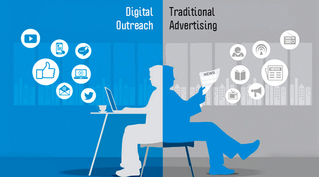 Traditional advertisement vs. digital outreach